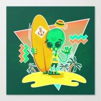 Alien Surfer Nineties Pa… Canvas Print