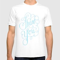 Thank you Hand Lettered Calligraphy Mens Fitted Tee White SMALL