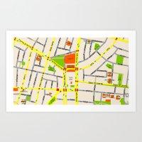 Tel Aviv Map Design - Wr… Art Print
