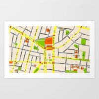 Tel Aviv Map Design - Wr… Art Print