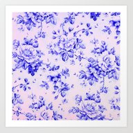Blue Earthenware Vintage… Art Print