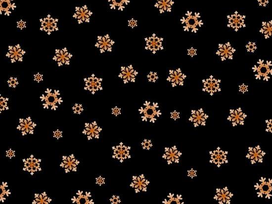 Snowflakes (Orange on Black) Art Print
