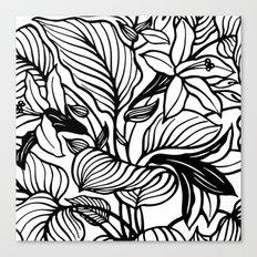 White Black Floral Minimalist Canvas Print