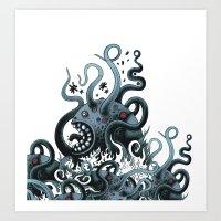 Octoworm (blue Version) Art Print