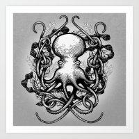 Octupus And COral (Black… Art Print