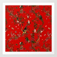 Monkey World Red Art Print