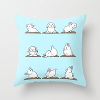 Bunnies Yoga Throw Pillow