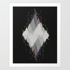 Flocking Mountain Lights Art Print
