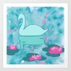 Swan on the lake Art Print