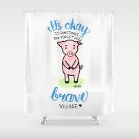 Brave Piggy Shower Curtain