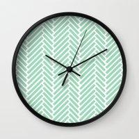 Herringbone Mint Zoom Wall Clock