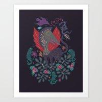 Dragon and Lizards Art Print