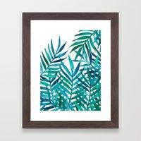 Watercolor Palm Leaves on White Framed Art Print