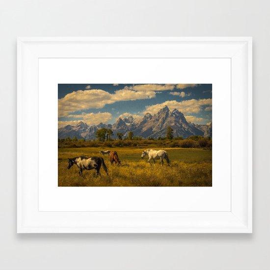 Teton Horses Framed Art Print