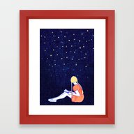 Reading Under Stars Framed Art Print