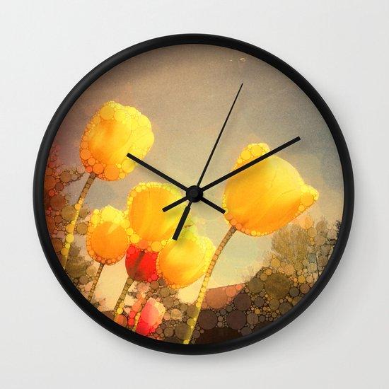 Yellow Tulips Wall Clock