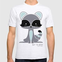 Riley the Racoon Mens Fitted Tee Ash Grey SMALL