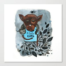 Mr. Boxer is in love with Cats Canvas Print