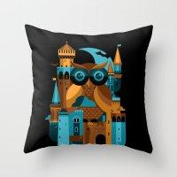 Owl Castle Throw Pillow