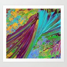 COLOR CHAOS Wild Vibrant Colorful Abstract Acrylic Painting Lime Green Plum Purple Gift Art Decor Art Print