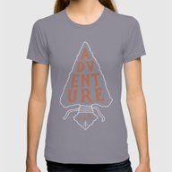Adventure Awaits Womens Fitted Tee Slate SMALL