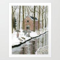 Children Building A Snow… Art Print