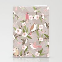 Blossom and birds Stationery Cards