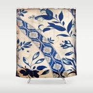 Blue Oriental Vintage Pa… Shower Curtain