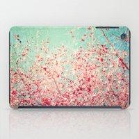 Blue Autumn, Pink leafs on blue, turquoise, green, aqua sky iPad Case