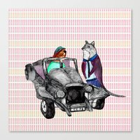 Animals And Cars Canvas Print