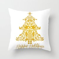 Ornate Pineapple Holiday Tree Throw Pillow