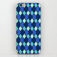Big Harlequin Diamonds: Blue Multi iPhone & iPod Skin