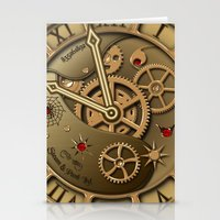 Steampunk clock gold Stationery Cards