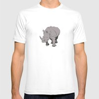 Rhino Mens Fitted Tee White SMALL