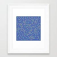 Dreamy Dots On Blue Framed Art Print