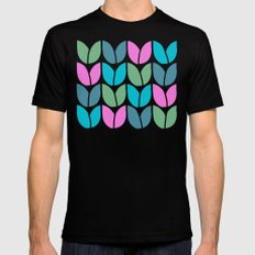Tulip Knit (Teal Pink Blue Green) Mens Fitted Tee Black SMALL