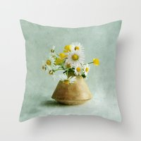 Daisies and Buttercups Throw Pillow