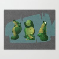 3 dragons in a cave Canvas Print