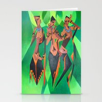Three Ethnic Traditional Black Women Dancing  Stationery Cards