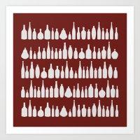 Bottles Red Art Print