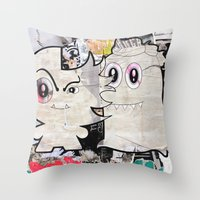 Two Sugar Monsters Throw Pillow