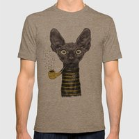 Black Cat Mens Fitted Tee Tri-Coffee SMALL