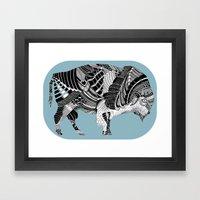BLUE BISONTE-. Framed Art Print