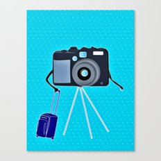 Camera on a photographic trip Canvas Print