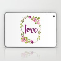 Floral Wreath Watercolor - Love - by Sarah Jane Design Laptop & iPad Skin