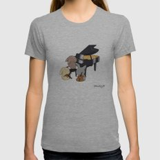 Bunny Trio Womens Fitted Tee Athletic Grey SMALL
