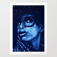 badu?!-blue Art Print