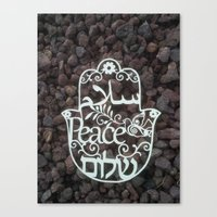 Hamsa paper cut -peace in 3 languages Hebrew, Arabic and English wall decor Canvas Print