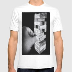 Jenga in Monochrome SMALL White Mens Fitted Tee