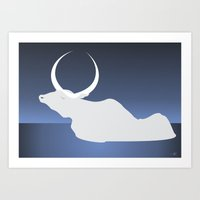 the moon landed softly on her head and stayed there...  Art Print